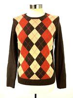 TWEEDS Womens Cashmere Pullover Sweater Size M Brown Argyle Diamonds Crew