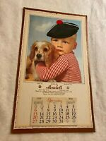"""Waterford, CT,  Vtg 1957 Calendar """"Affection,"""" Boy and his Dog, Adv. Hendel's"""