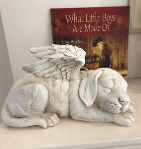 ~❤️~DOG MEMORIAL Sleeping Pet or Cat with wings Angel Statue Figurine 26cm❤️