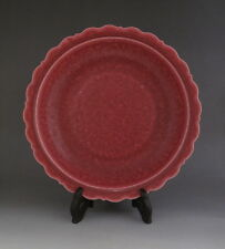 Beautiful Chinese Antique Yaobian Coral red Glaze Porcelain Plate