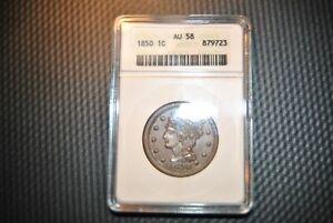 1850 Large  Cent ANACS AU 58