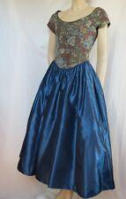 Laura Ashley Cocktailkleid 40 Brokat blau gold Rosen Hochzeit Theater vintage