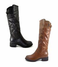 Scarpe donna Stivali stivaletti eco pelle scarpe tacco basso con fibbia e zip