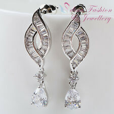 18K White Gold Plated Clear Cubic Zirconia Crossover Teardrop Wedding Earrings