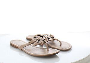 03-17 $198 Women Sz 7M Tory Burch Miller Leather Medallion Thong Sandal
