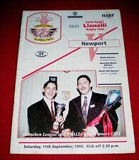 1993 LLANELLI v NEWPORT programme