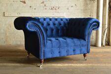 HANDMADE 1.5 SEATER PLUSH NAVY BLUE VELVET CHESTERFIELD SNUGGLE CHAIR, LOVE SEAT