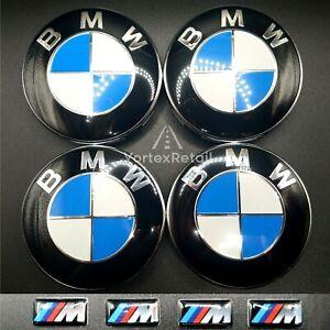 4X BMW ALLOY WHEEL CENTRE HUB CAPS 68mm + M SPORT BADGES E46 E60 E90 E92 E82 E87