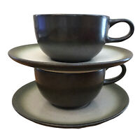 Heath Ceramics Coffee Cups Saucers Set of 2 MCM Vtg Tea California Pottery Rim