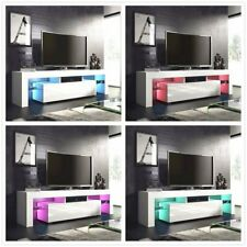 Modern TV Unit 130cm Cabinet Stand White Matt and White High Gloss FREE LED OY