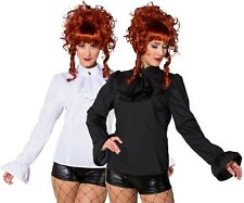 Ladies Deluxe Black White Steampunk Cosplay Fancy Dress Costume Outfit Blouse