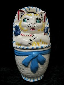 Cat in a Basket Ceramic Cookie Jar 1940-s