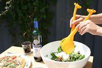 Fun Giraffe Style Set of 2 Food Salad Servers Spoon & Fork Kitchen Novelty Gift