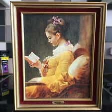 VINTAGE FRAMED PRINT ON BOARD YOUNG GIRL READING J.H. FRAGONARD