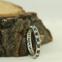 1.10 Ct Channel Set Black Spinel & Sapphire Full Eternity Band 14k White Gold GP