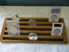 Encapsulated Coin Display Wood  5 Tiers->Walnut Stn->Wide Rows for Plastic Case