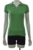 Ralph Lauren Blue Label Womens Top Size M Green Cable Knit Collared Cotton Top