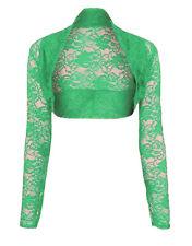 Womens Cropped Lace Long Sleeve Shrug Ladies Bolero Lace Jacket Cardigan Top