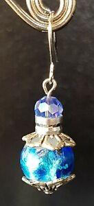 dangle earrings, surgical stainless steel hooks silver, foil BLUE, AUST made