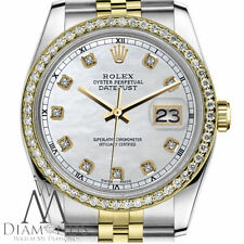 Natural White Pearl Rolex 31 mm Datejust 18K SS 2 Tone Diamond Midsize Watch