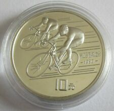 China 10 Yuan 1990 Olympia Barcelona Radfahren Silber