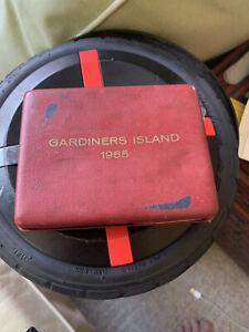 Vintage 1965 Gardiners Island Nickel Silver 3-Coin Proof Set Presentation Case
