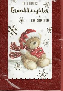 Granddaughter Christmas Card Cute Design By Prelude Size 20cm x 14cm