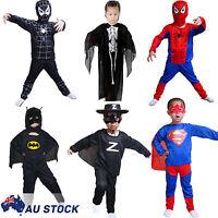 Kids Boys Girls Batman Spiderman Superman Zorro Jumpsuit Party Cosplay Costume