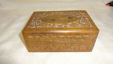 Vintage Detailed Carved Indian Hardwood Trinket Box - Brass Inlay