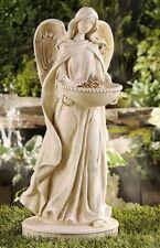 """18.7"""" Angel Statue Birdfeeder Polystone White NEW"""
