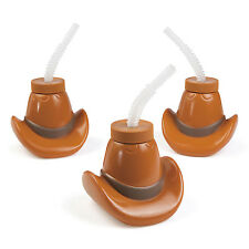 6 Cowboy Hat  Shaped Cups with Straw Stallion Western Cowboy Cowgirl Party Favor