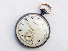 Swiss Gun metal Quarter Repeater Open Face Case Pocket Watch Great No.J002