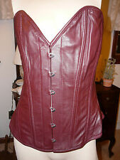 New w/ Tag Genuine Lambskin Leather Maroon Busk Front Hook Corset L High Quality