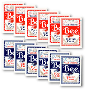 12 x Bee Casino Poker Normaler Index (6 x rot / 6 x blau) Spielkarten