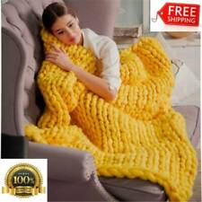 Fashion Handmade Knitted Wool Blanket, Size:80X100cm(Yellow) FREE SHIPPING NEW
