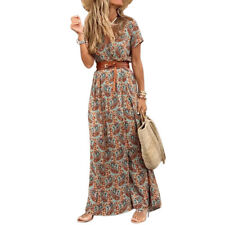 Womens Summer V-neck Long Maxi Dress Ladies Casual Holiday Floral Beach Sundress