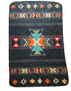 Native American Fleece 60x38 Throw Blanket St. Labre Indian School Soft Aztec