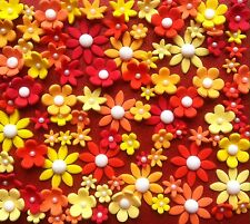 *** 80 Edible Red and Orange Flowers FIRST BIRTHDAY CAKE CUPCAKE DECORATIONS ***