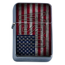 Windproof Refillable Oil Lighter Vintage American Flag D7 Patriotic Stars Honor