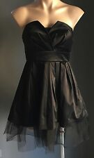 Ab Fab Gothic Punk TATTOO Black Strapless Satin Tulle Hem Mini Dress Size 10