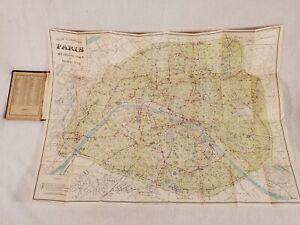Plan de Paris Travel Map Illustrated Metro Guide Vintage 1925 L. Joly J. Leconte