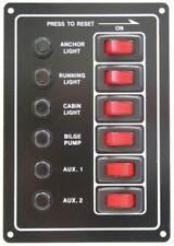 6 Switch Circuit Breaker Panel 12V Boat RV Marine