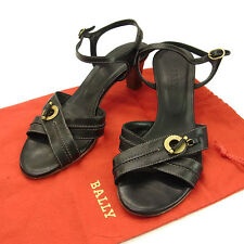Bally Flip Flops Logo Black Gold Woman Authentic Used F568