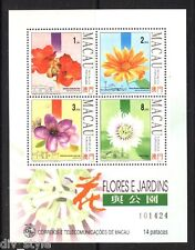 Flowers minisheet of 4 mnh stamps Macau 1993 #710a rose myrtle