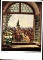 Nürnberg Fensterausblick der Burg Ludwig Mößler Ansichtskarte Postkarte AK PK