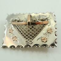 Antique Sweetheart Brooch Antique Silver and Rose Gold 1891