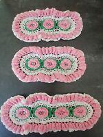 3 Vintage Hand Crocheted Pink White Green Flower Table Runner Accent 3D Easter