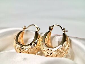"""SALE 9K 9ct """"Gold Filled"""" Prom 25mm Patterened Hoops Earrings Gift Pouch"""