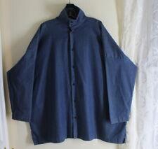 Eskandar -Sz 2 JEAN DENIM Stand Collar Long Boxy Tunic Shirt Top MINT CONDITION