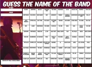 GUESS THE NAME OF BAND SCRATCHCARD 100 Player Squares Game Music Theme Game Pub
